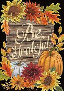 "Briarwood Lane Be Grateful Autumn House Flag Thanksgiving Floral Fall 28"" x 40"""