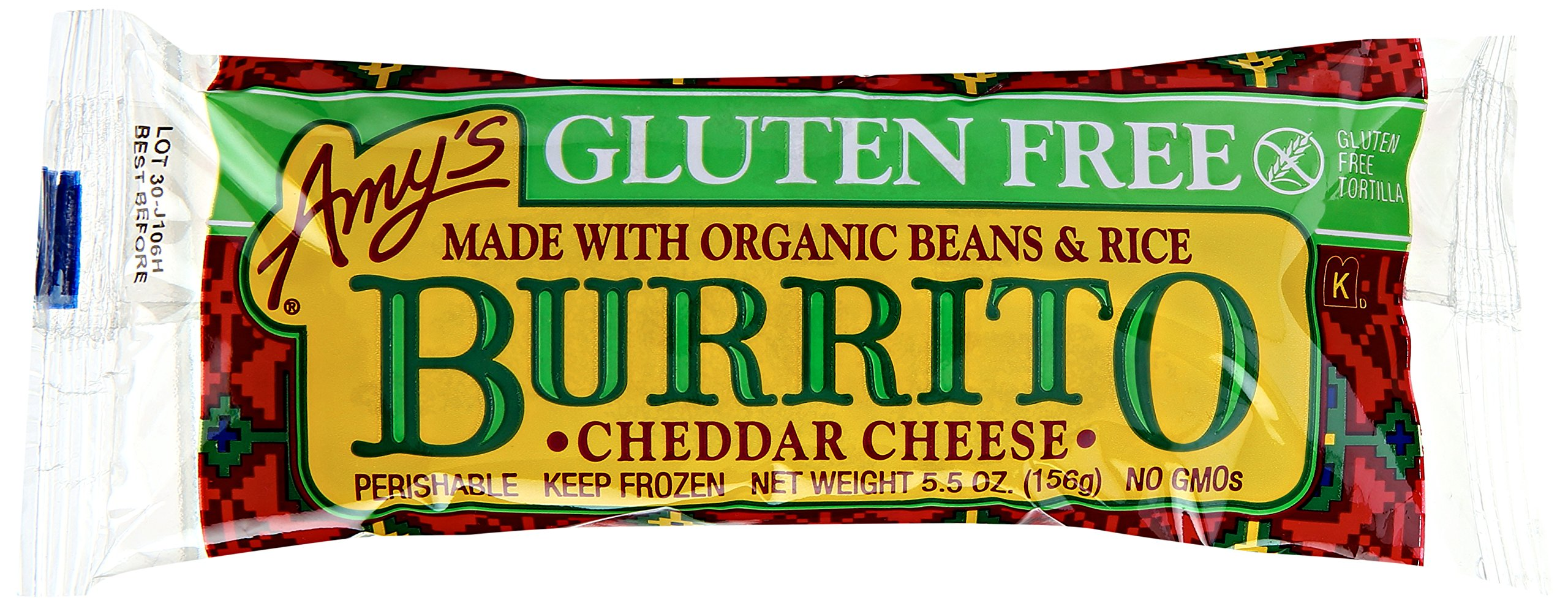 Amy's Burrito, Gluten Free Cheddar Cheese, 5.5 Ounce (Frozen)