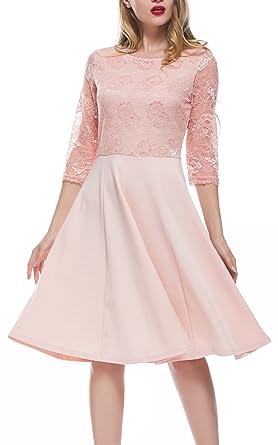 DKBAYA Damen Elegant Kleid Knielang Ballkleid 3/4 Arm Festlich ...