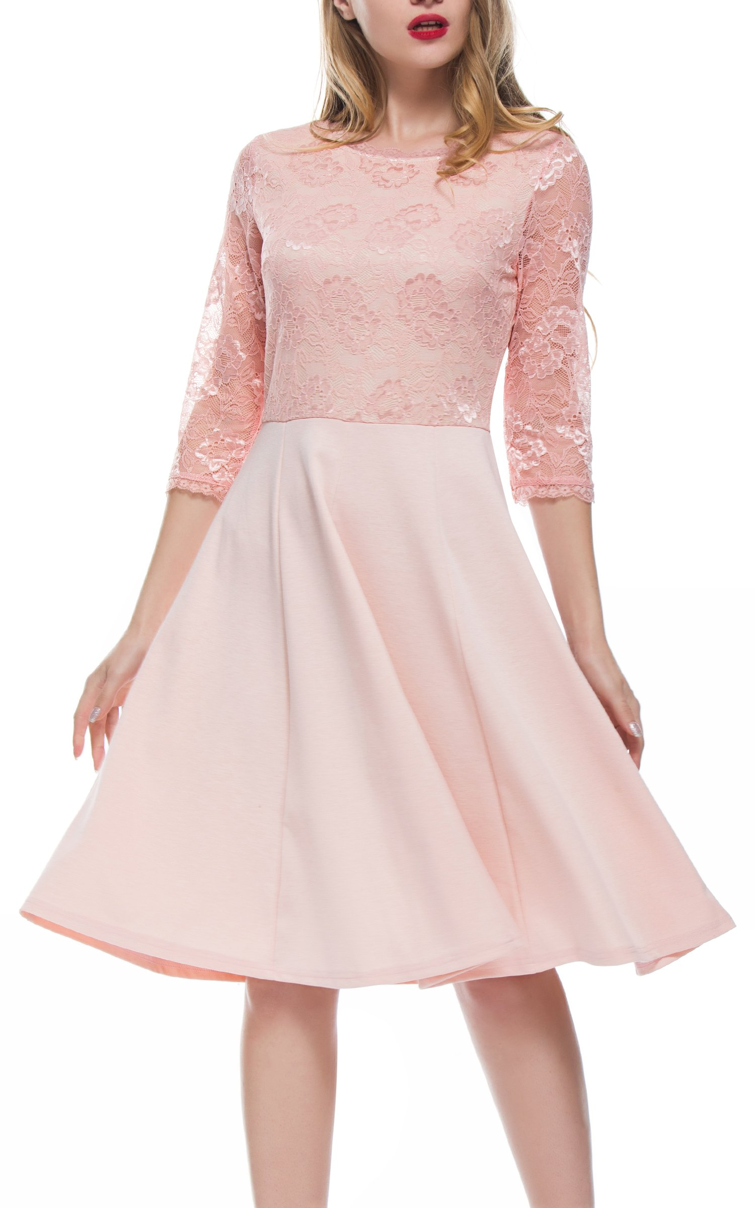 DKBAYA Women's Vintage Floral Lace 2/3 Sleeve Flare Swing Cocktail Party Dress (S, Pink)