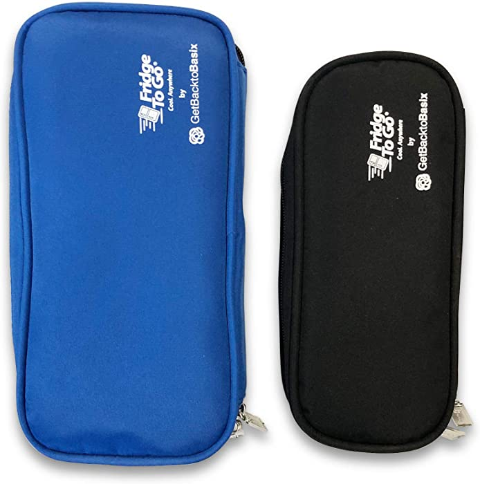 Fridge-to-go Insulin Cooler Travel Case Bags x2 - Portable Storage Wallets for Cooling Diabetic Medicine by GetBacktoBasix Standard + Mini