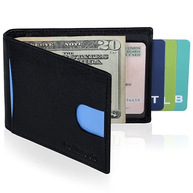 6751d3a079b363 Money Clip Wallet for Men Slim Front Pocket RFID Blocking Card Holder  Minimalist Bifold Wallet Money