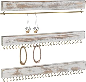 MyGift Rustic Whitewashed Wood 3-Piece Wall-Mounted Jewelry Rack Set