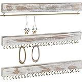 MyGift Rustic Whitewashed Wood 3-Piece Wall-Mounted Jewelry Rack Set
