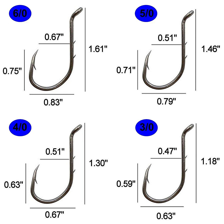Size 8#-6//0# JSMeet 30-100 PCS Sharp Octopus Baitholder Hooks Fishing Jig Hooks High Carbon Steel Circle Hooks Extra Sharp Black Barb Fishhooks