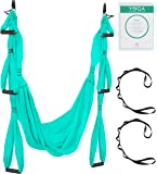 (Turquoise) - Aerial Yoga Swing - Ultra Strong Antigravity Yoga Hammock/Trapeze/Sling for Antigravity Yoga Inversion Exercises - 2 Extensions Straps Included