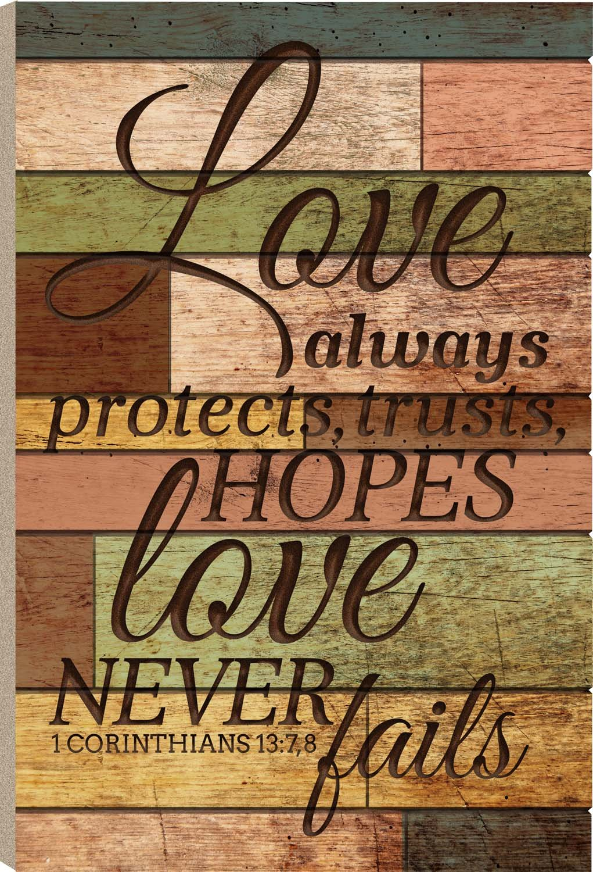Love Hopes Love Never Fails 1 Corinthians 13:7 36 x 24 Wood Barn Board Wall Art Sign Plaque