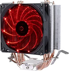 upHere 4 Heatpipes Ventilador de CPU con Rojo LED Ventiladores PWM ...