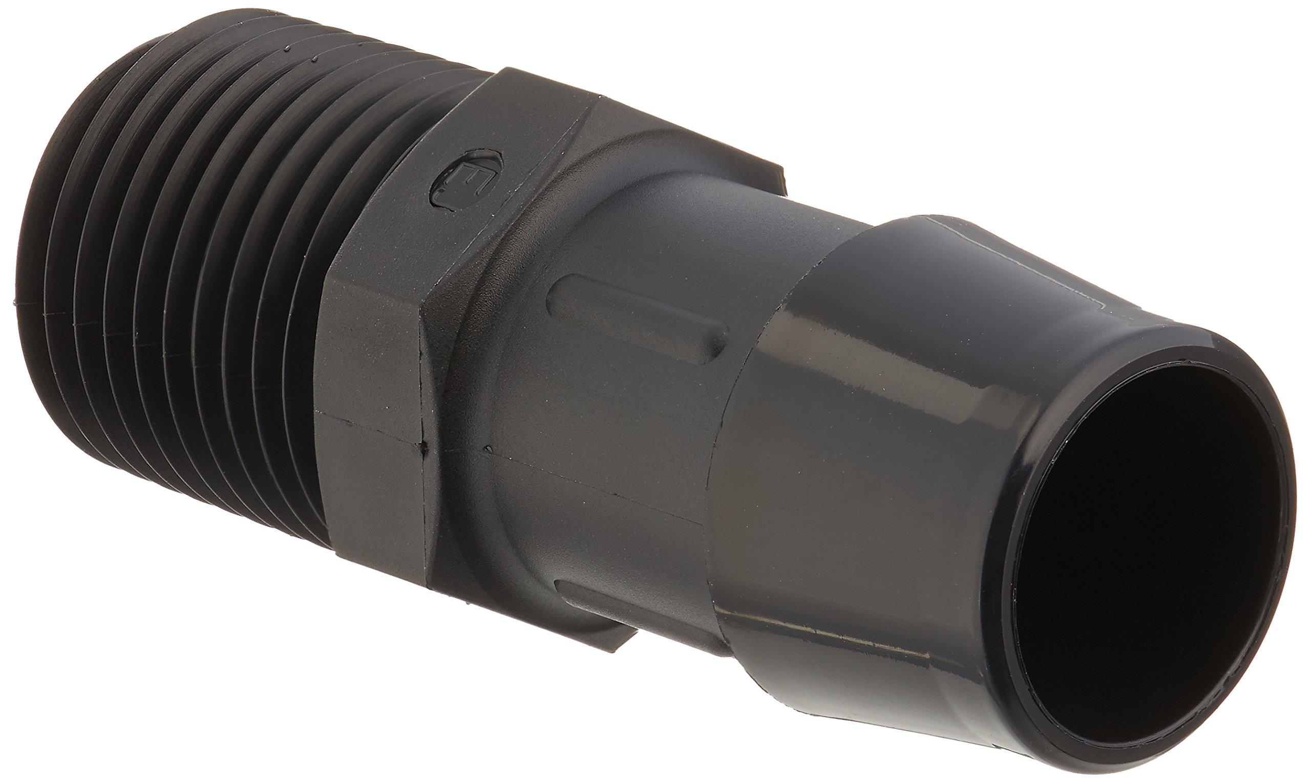 Eldon James A8-12BN Black Nylon Adapter Fitting, 1/2-14 NPT to 3/4'' Hose Barb (Pack of 10) by Eldon James
