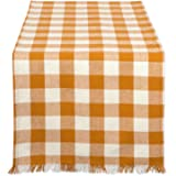 """DII Cotton Woven Heavyweight Table Runner with Decorative Fringe for Spring, Summer, Family Dinners, Outdoor Parties, & Everyday Use (14x72"""") Pumpkin Spice Check"""