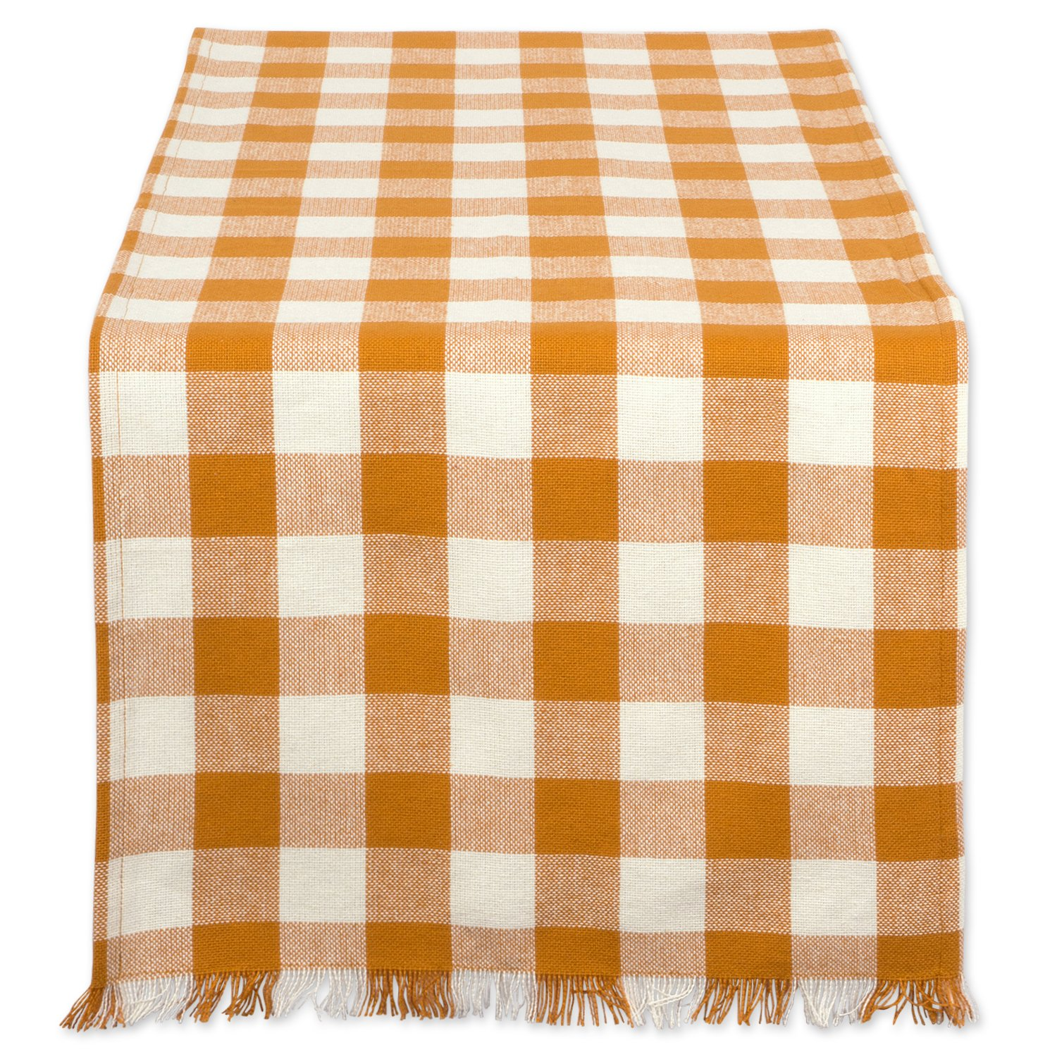 DII CAMZ37588 HEAVYWEIGHT FRINGED TR CHECK 14X108 PUMPKIN SPICE, Checkered by DII