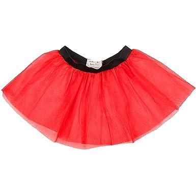 Neon Red Black 4 Layer Tutu Skirt 80/'s Fancy Dress Hen Party Fun Run Halloween