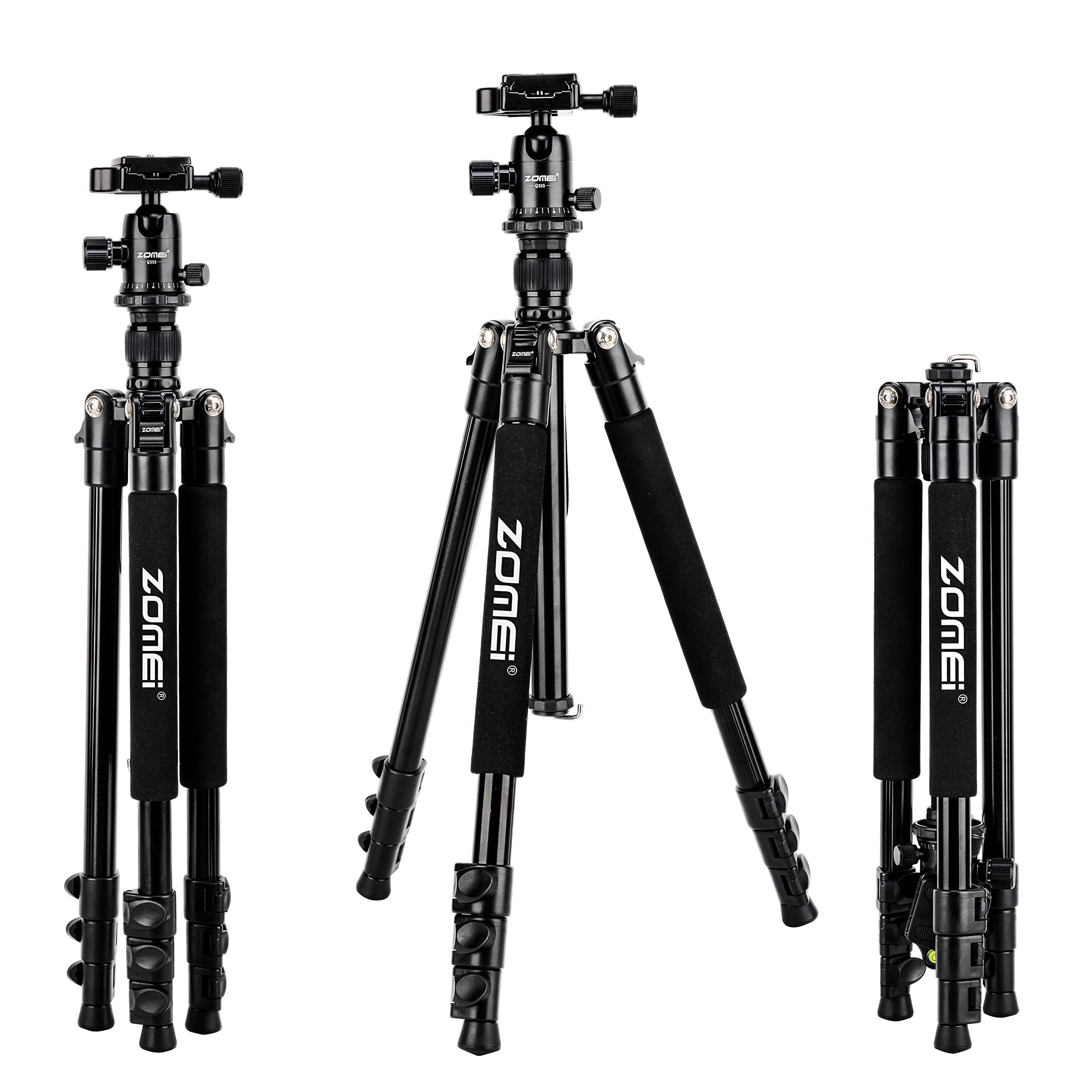 Zomei Q555 Lightweight Alluminum Alloy Camera Tripod with 360 Degree Ball Head + 1/4'' Quick Release Plate for Canon Nikon Sony Samsung Panasonic Olympus Fuji DSLR and Camcorders by ZoMei