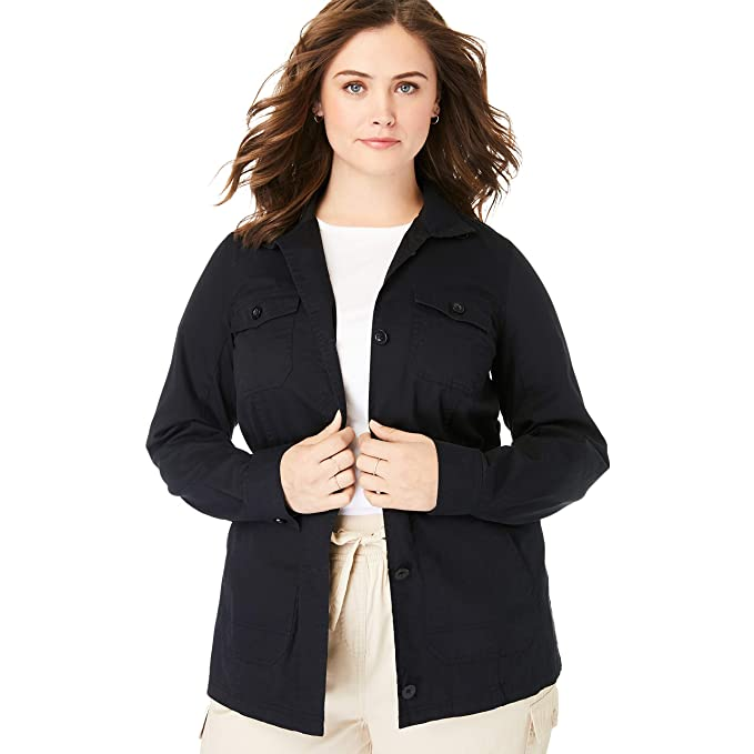 Amazon.com: Woman Within - Chaqueta deportiva de sarga para ...