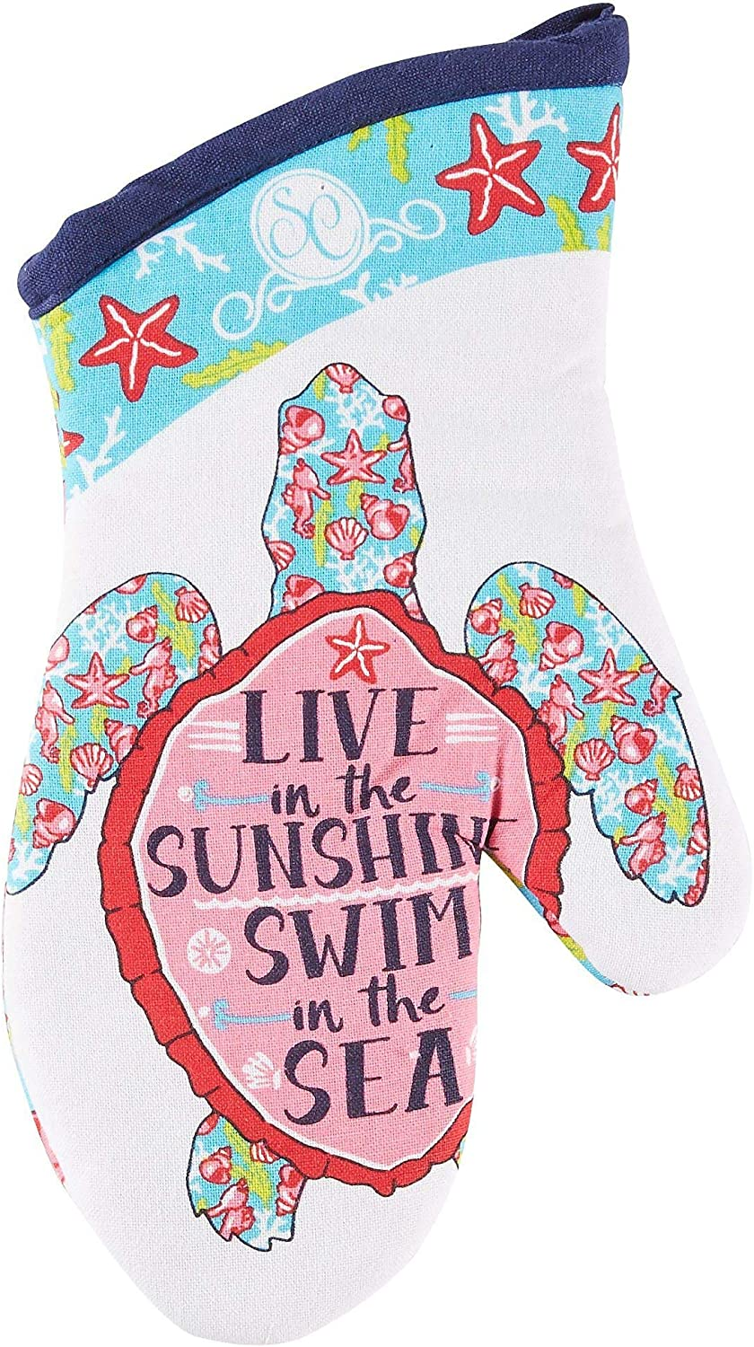 Kay Dee Designs Southern Couture Sea Turtle Oven Mitt One Size White/Blue/Pink