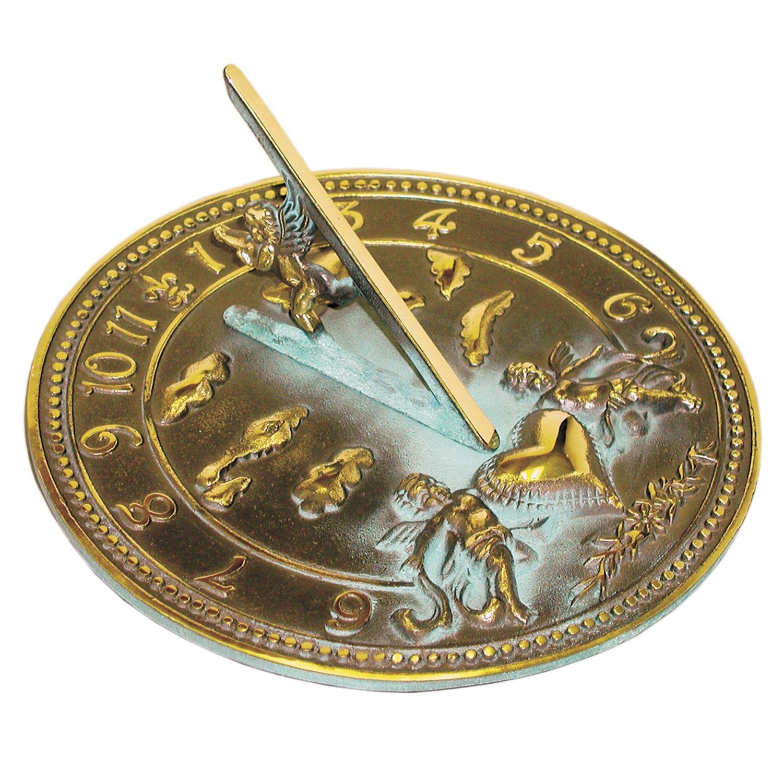 Rome 2316 Cherub Sundial, Solid Brass with Verdigris Highlights, 10-Inch Diameter