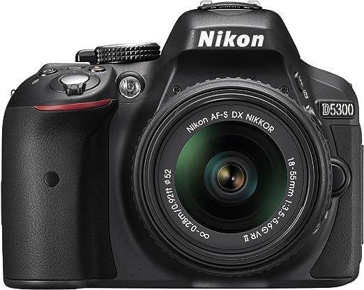 Amazon.com : Nikon D5300 24.2 MP CMOS Digital SLR Camera with 18-55mm f/3.5-5.6G ED VR Auto Focus-S DX NIKKOR Zoom Lens (Black) : Camera & Photo