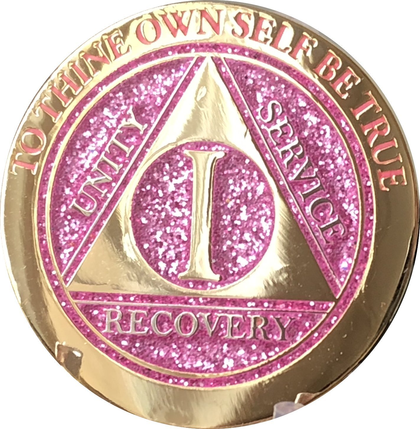 1 Year Elegant Glitter Pink Gold Silver Bi-Plated AA Medallion Chip by RecoveryChip