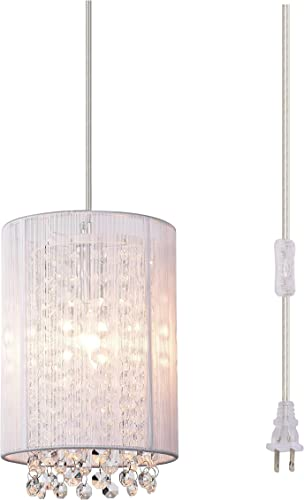 Pendant Lighting Crystal Pendant Light Plug-in Chandelier Mini Hanging Light Fixture 1 Light