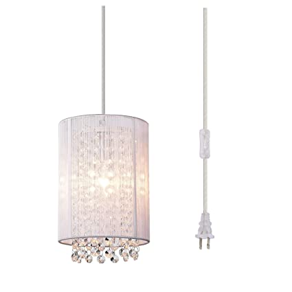 official photos 854fa 72ed7 Pendant Lighting Crystal Pendant Light Plug-in Chandelier Mini Hanging  Light Fixture 1 Light
