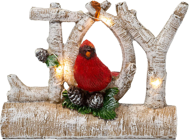 BANBERRY DESIGNS Christmas Cardinal Joy Decorative Figurine - Light Up LED Rice Lights Birch Branch Holiday Decoration - Winter Cardinal Theme Seasonal Décor with Light Up LED Lights