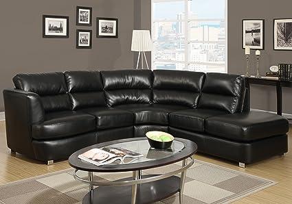 Amazon.com: Monarch Bonded Leather/Match Sectional Sofa, Black ...