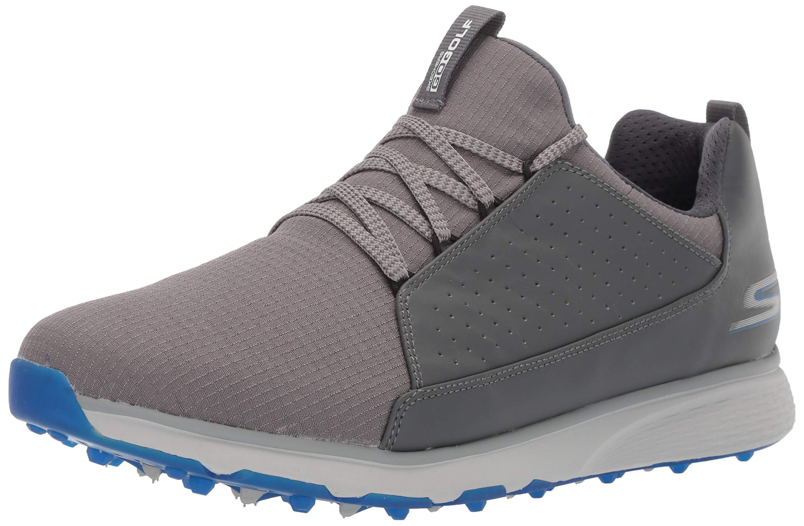 Skechers Men's Mojo Waterproof Golf Shoe, Charcoal/Blue Textile, 13 M US by Skechers