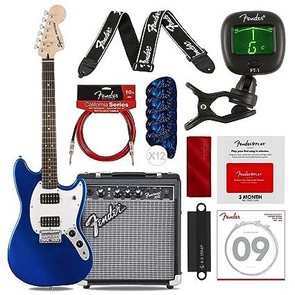 Fender Bullet Mustang HH Guitarra eléctrica de 6 cuerdas, azul ...