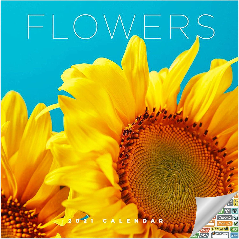 Flowers Calendar 2021 Bundle - Deluxe 2021 Blooms Wall Calendar with Over 100 Calendar Stickers (Gardening Gifts, Office Supplies)