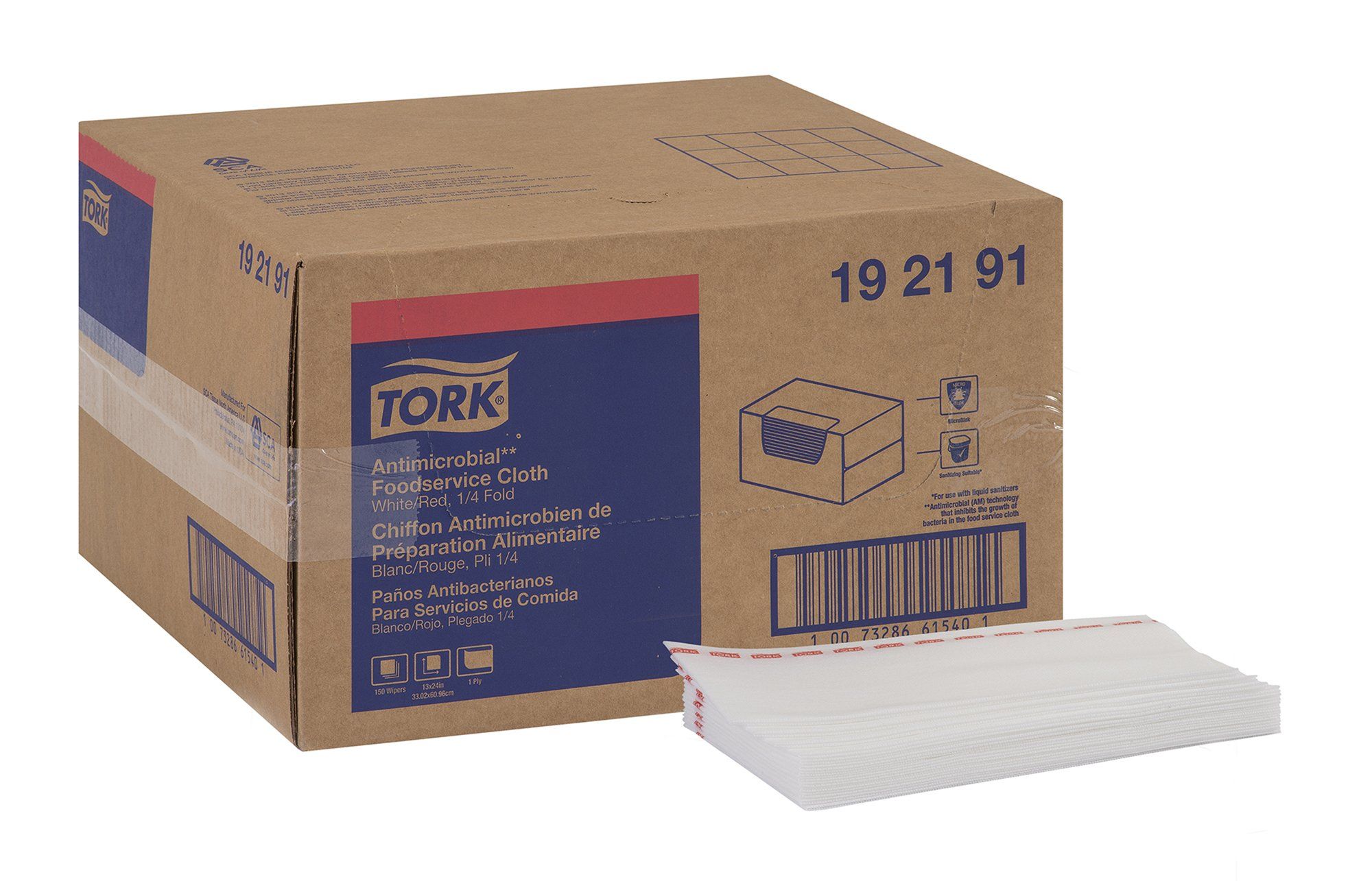 Tork 192191 Antimicrobial Foodservice Cloth, 1/4 Fold, 13'' Width x 24'' Length, White/Red Stripe (Case of 1 Box, 150 Cloths per Box)