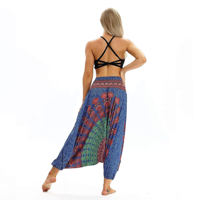 GLUDEAR Womens Smocked Waist Boho Print Aladdin Harem Hippie Yoga Pants