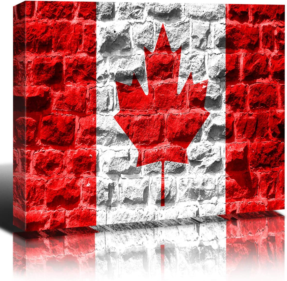Amazon Com Canada Country Flag Wall Decor On Retro Wood Texture Background National Flag Canvas Prints Painting Wall Art Stretched And Framed Giclee Artwork For Living Room Office Home Decoration 16x24 Inch Home