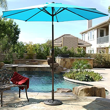 Amazon.com  Belleze 9ft Outdoor Patio Umbrella Sun Shade Hand Crank Tilt UV Resistant Large Backyard Yard Beach Turquoise  Garden u0026 Outdoor & Amazon.com : Belleze 9ft Outdoor Patio Umbrella Sun Shade Hand Crank ...