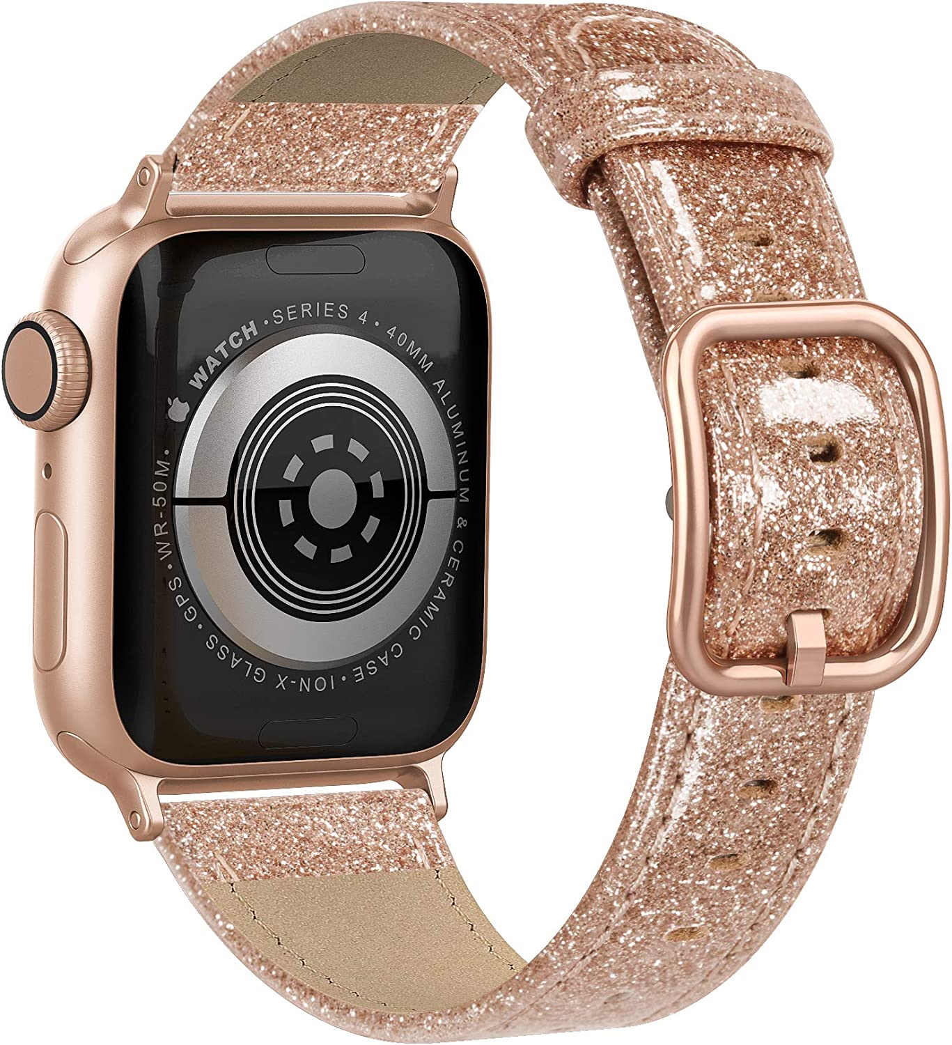 Fuzvol Compatible with iWatch Band 40mm 38mm, Genuine Leather Replacement Band Strap Compatible with Apple Watch SE Series 6 5 4 3 2 1 (Glitter Rose Gold/Rose Gold Buckle, 40mm/38mm)
