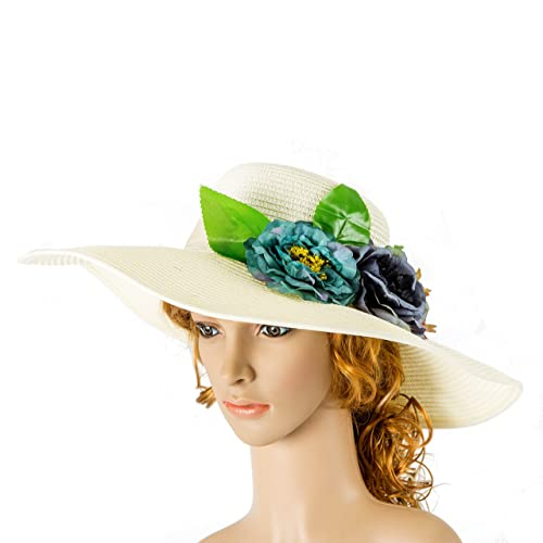 fd7c4493 Amazon.com: Beach Straw Hat, Mrs Hat, Embroidered floppy hat, Honeymoon sun  hat, Something blue for bride, Bridal shower gift: Handmade