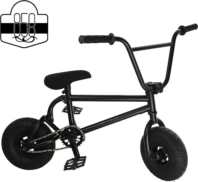 Bicicleta BMX de freestyle, tamaño mini, con cigüeñal de 3 piezas, ruedas anchas y ligeras, color negro, de RIDE 858: Amazon.es: Deportes y aire libre