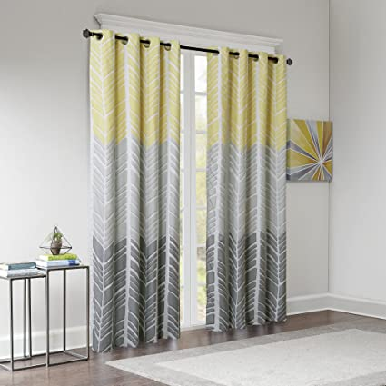 Charmant Intelligent Design Blackout Curtains For Bedroom, Casual Yellow Grey Window  Curtains For Living Room Family