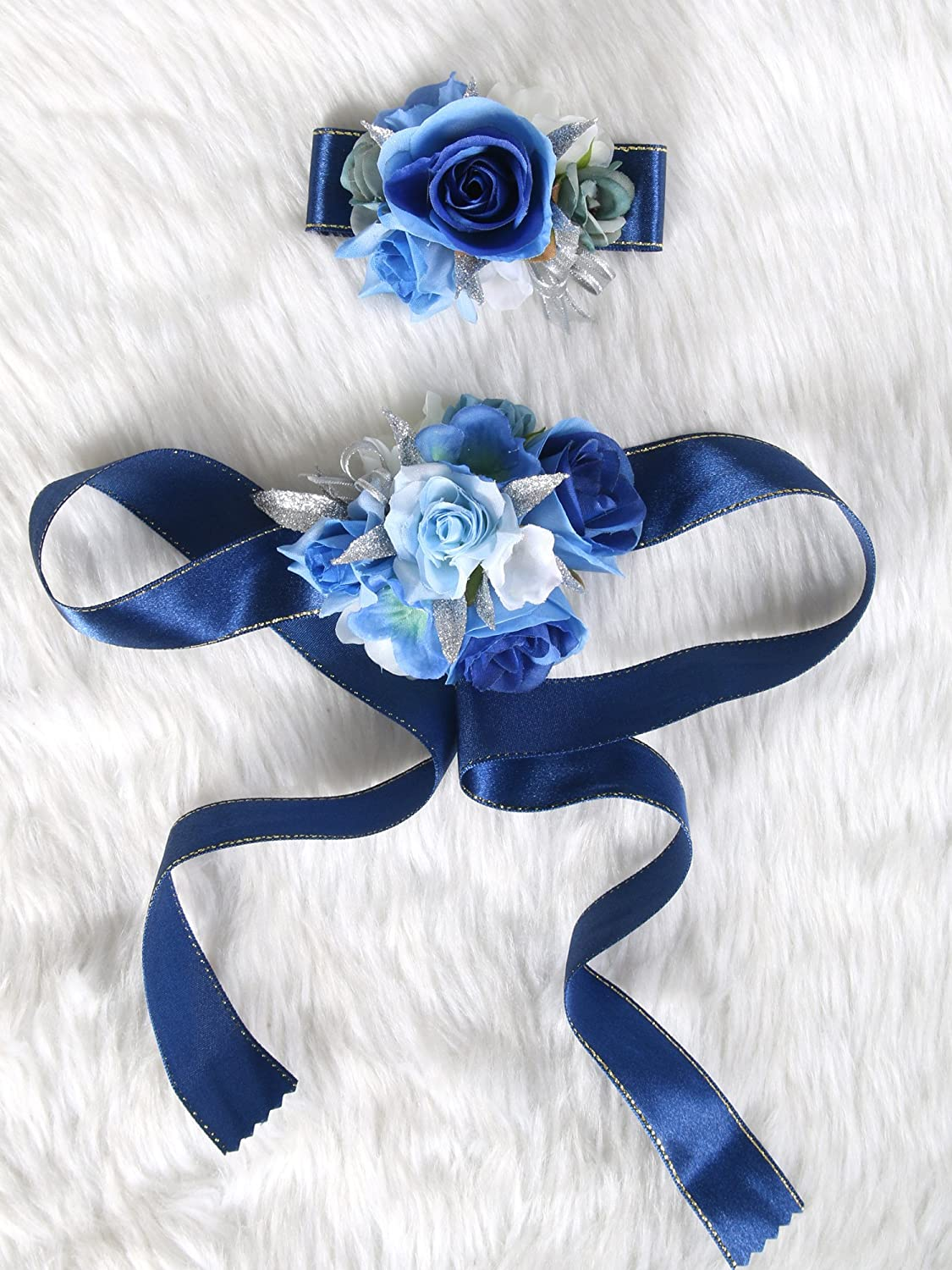 Wedding Prom Wrist Corsage Silk rose and Boutonniere Set Pin Ribbon Included (Navy Blue theme)