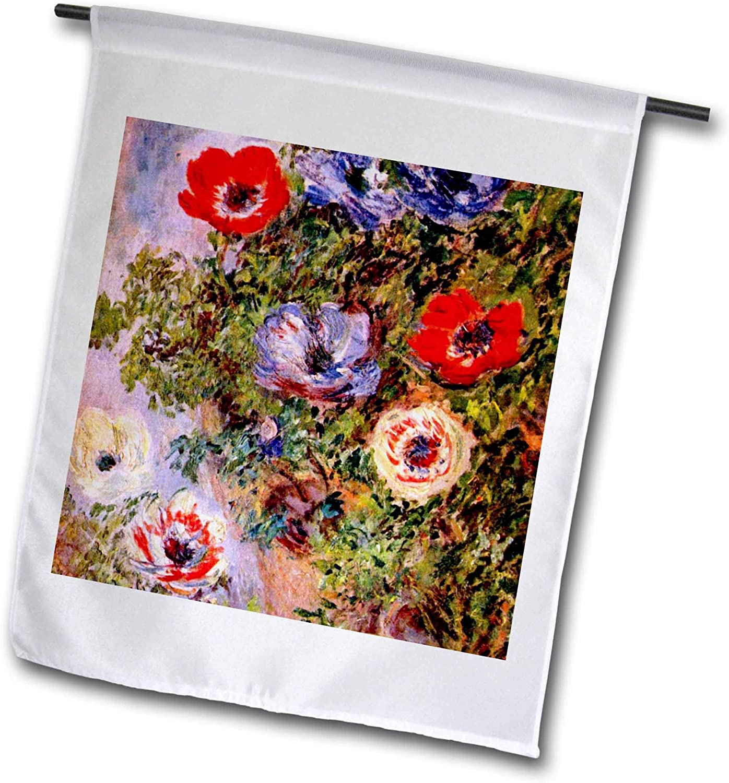 3dRose VintageChest – Masterpieces - Claude Monet - Anemones - 12 x 18 inch Garden Flag (fl_303322_1)