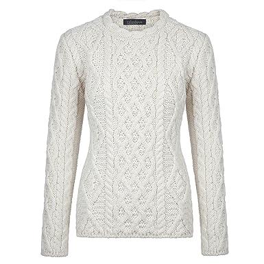 7607109cd74751 Donegal 100% Irish Merino Wool Ladies Aran Sweater with Lambay Stitching by  Ireland s Eye