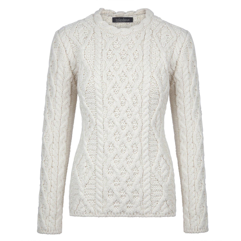 Donegal 100% Irish Merino Wool Ladies Aran Sweater with Lambay Stitching by Ireland's Eye