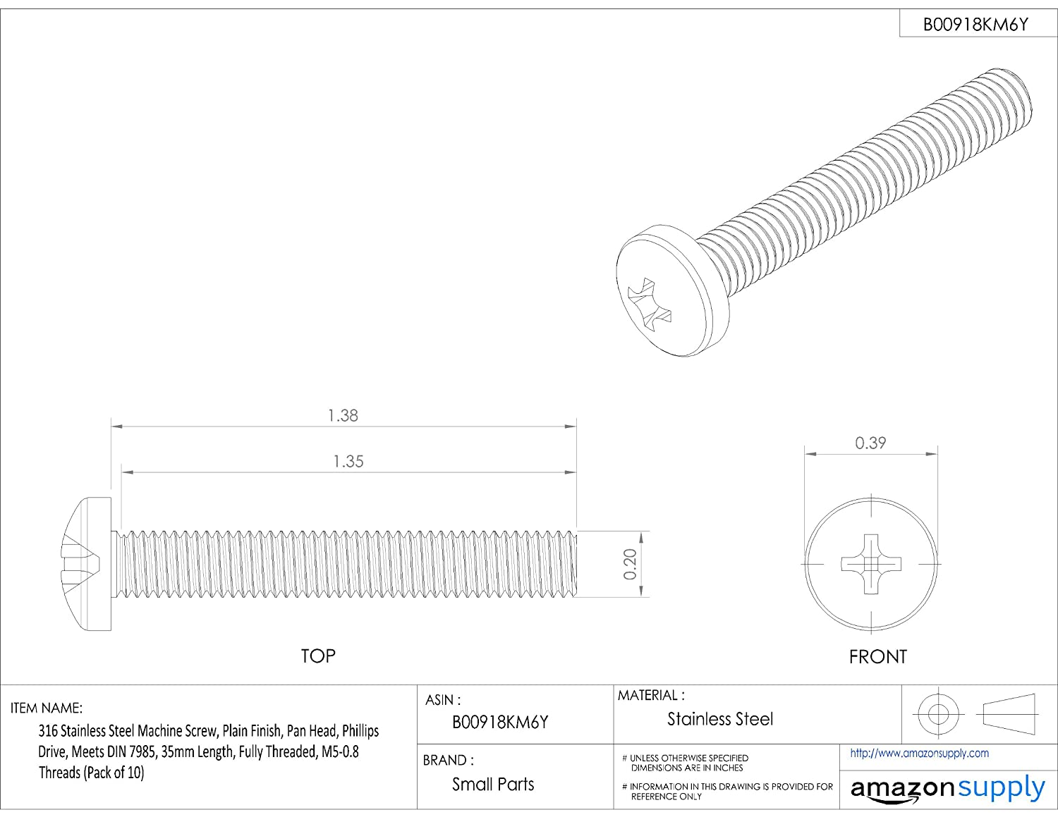 316 Stainless Steel Machine Screw Pack of 10 Pan Head 35mm Length M5-0.8 Metric Coarse Threads Phillips Drive Plain Finish Meets DIN 7985 Fully Threaded