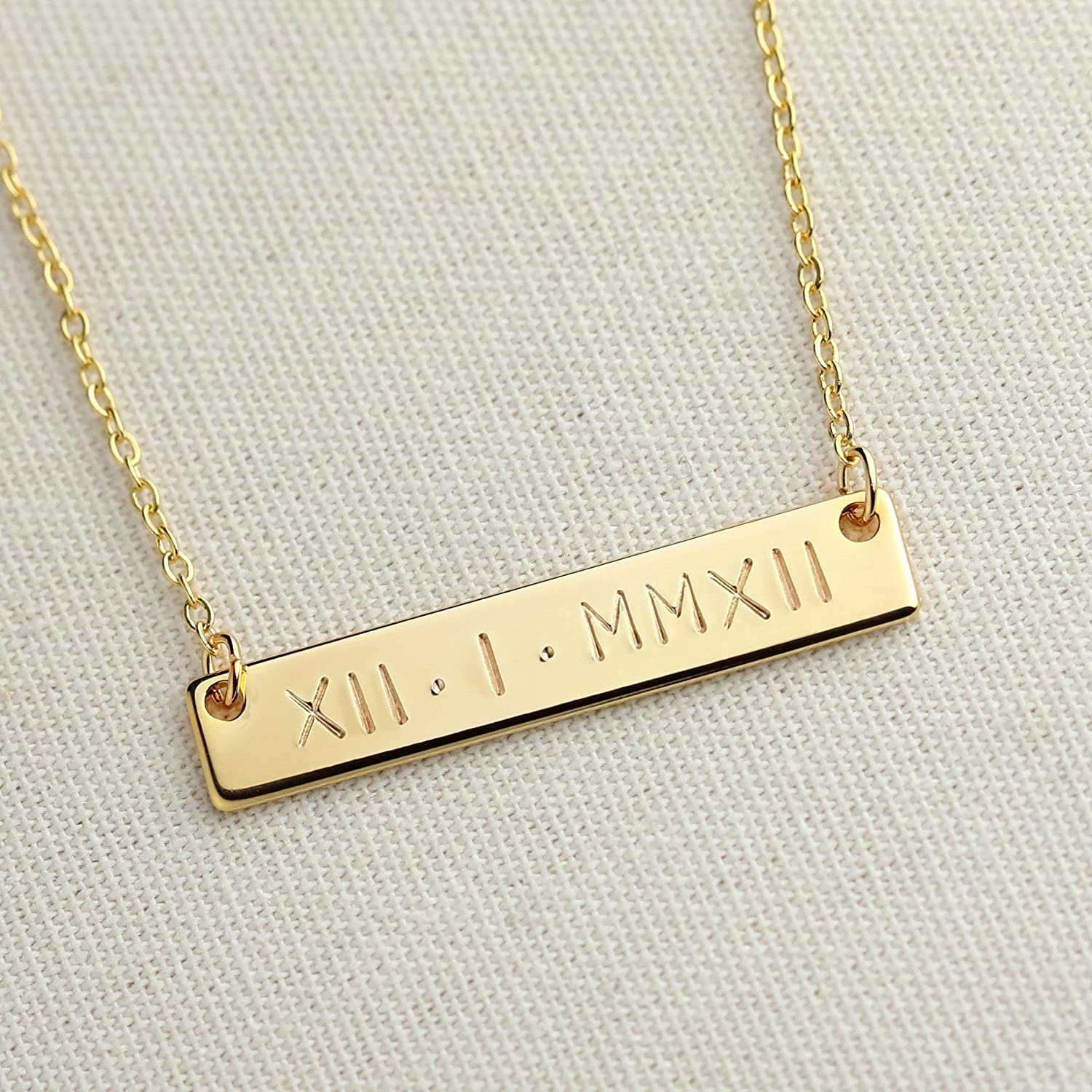 A SAME DAY SHIPPING before 3 PM EST Roman Numerals Wedding Date Necklace Engraving Special date Personalized Christmas gift Wedding Gift special date - 4N-RN