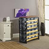 2ft6 Single Folding Guest Bed with Headboard – High Quality Compact Bed with Sprung Slatted Base
