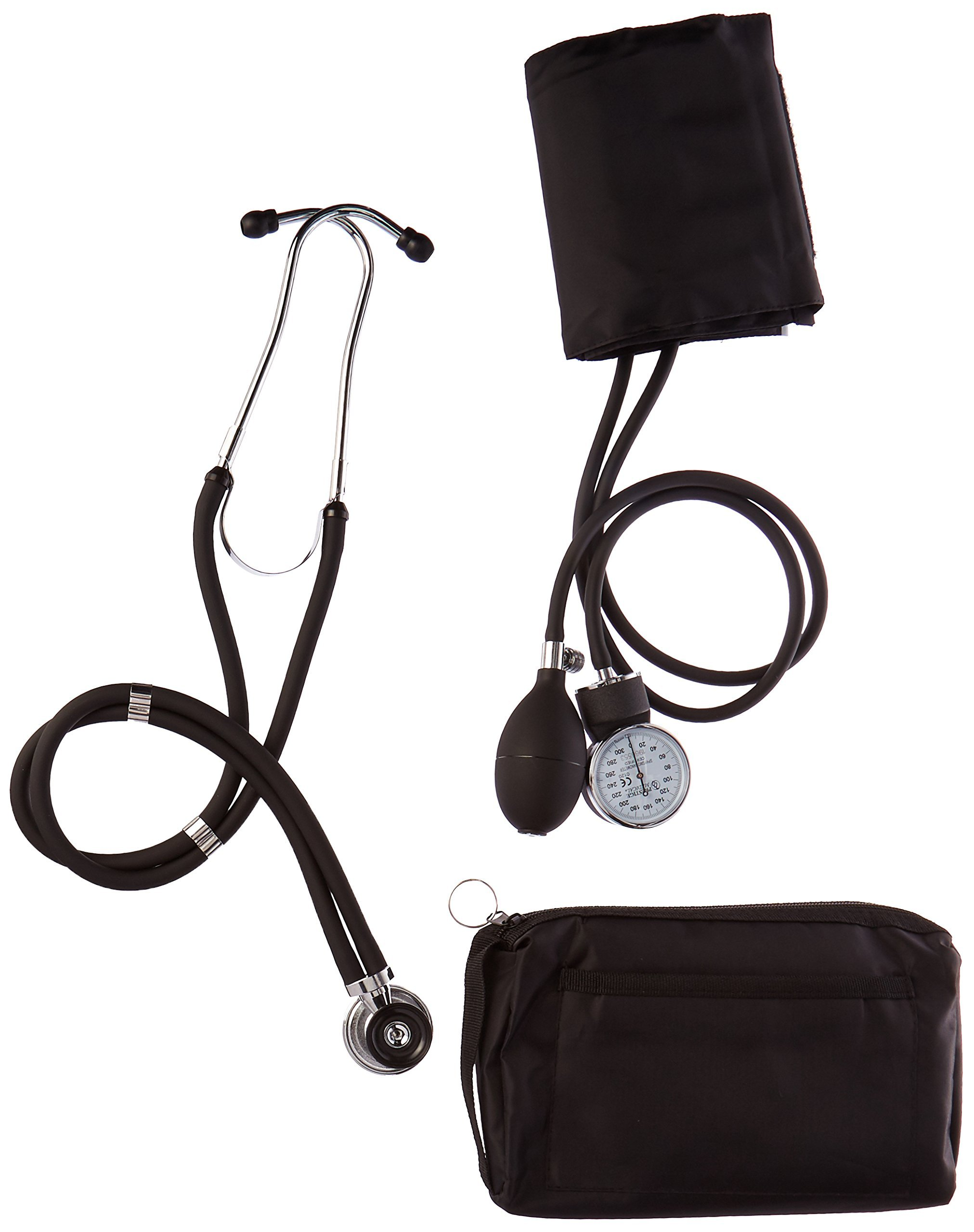 Prestige Medical Basic Aneroid Sphygmomanometer/Sprague Rappaport Stethoscope, Black