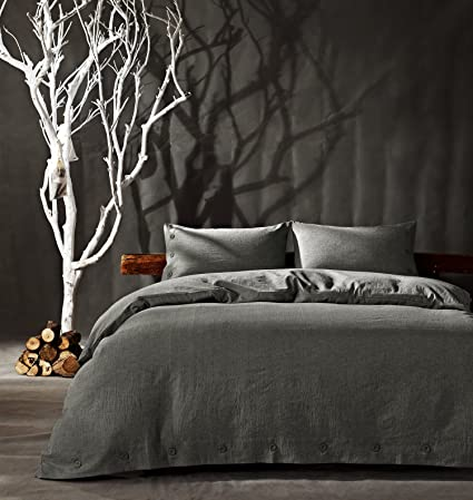 Kiss Tell Linen Cotton King Duvet Cover Set Soft Bedding Set Solid Color  Wrinkle Count Egyptian