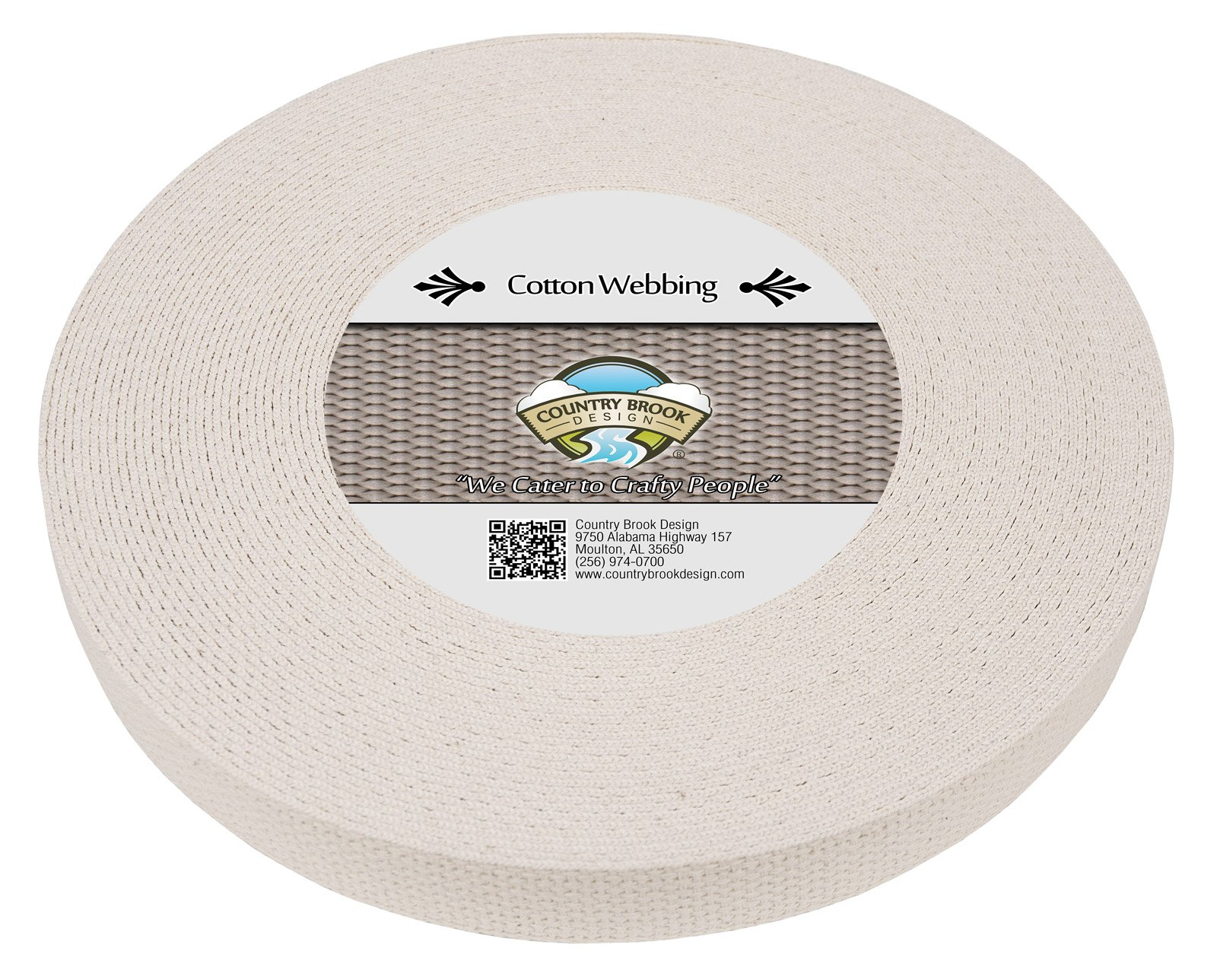 Country Brook Design | 1 Inch Natural Heavy Cotton Webbing, 25 Yards by Country Brook Design