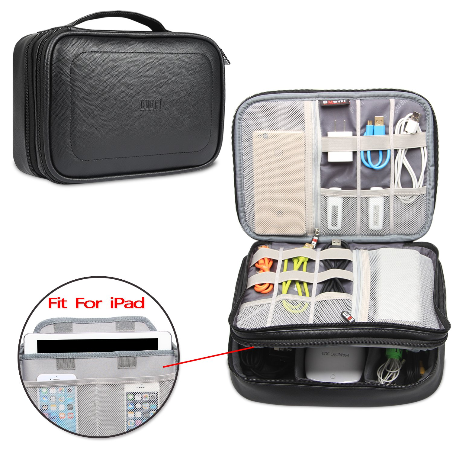 BUBM Electronic Organizer, PU Double Layer Travel Accessories Storage Bag for Cord, Adapter, Battery, Camera and More-a Sleeve Pouch for iPad Or up to 9.7'' Tablet(Large, Black)