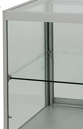 Vitrina para mostrador, con revestimiento de madera y puerta corredera de cristal con cerradura, iluminación de mostrador, vitrina para tiendas: Amazon.es: Hogar