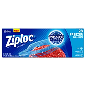 Ziploc Freezer Bags with new Grip 'n Seal Technology, Double Protection with Easy Open Tabs, Gallon, 28 Count